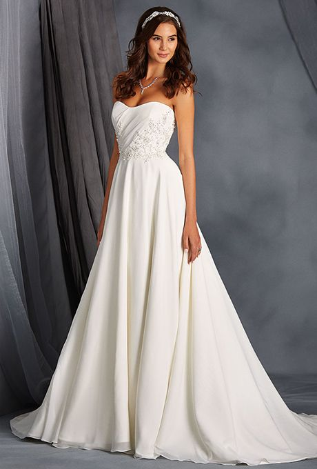 cf93924df20 Alfred Angelo Collection. Timeless chiffon overlay and satin gown featuring  a scooped neckline natural waist. Become a real life Disney Princess ...