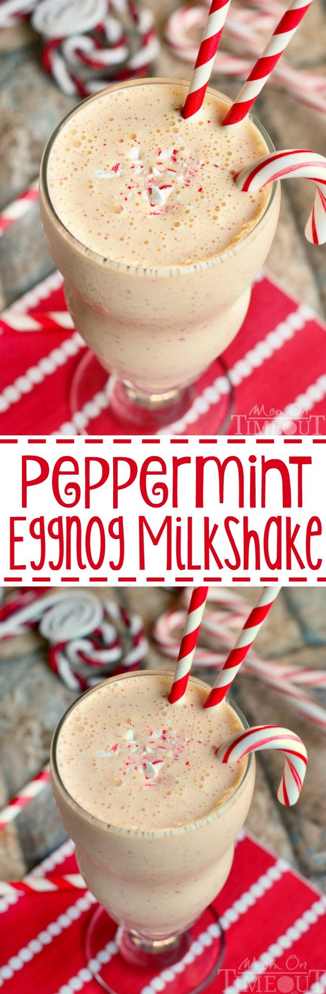 Two of my favorite holiday flavors come together magnificently in this exceptional Peppermint Eggnog Milkshake! An amazing drink for your next holiday or Christmas party!: