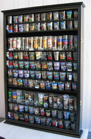 LARGE, 144 Shot Glass Display Case Wall Holder Cabinet, 1 door for 100% Exposure