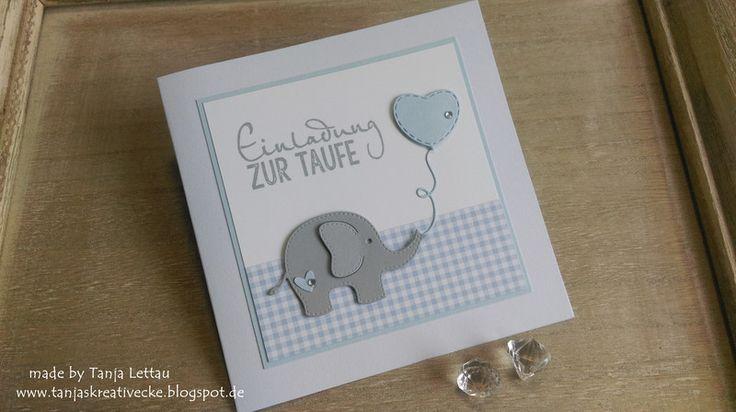 """Einladung+zur+Taufe+""""Kleiner+Elefant""""+von+Tanjas+Kreativecke+auf+DaWanda.com"""