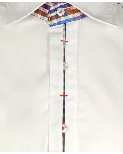 CLAUDIO LUGLI Mens White SHORT SLEEVED CHECK TRIM SHIRT main image