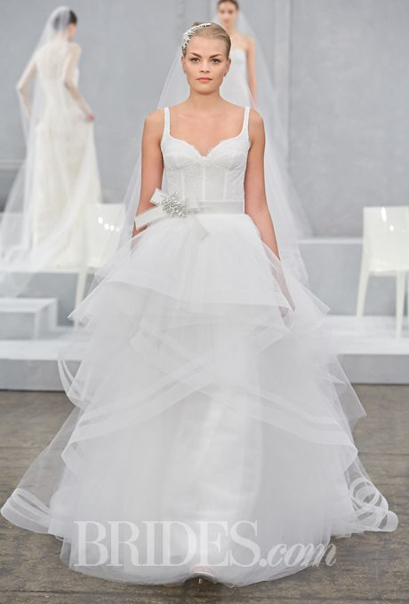 """Brides.com: . Wedding Dresses for Busty Body Types: Monique Lhuillier. If you're set on a sweetheart neckline, try one with straps and a full skirt to balance your busty frame.  """"Velletta"""" sleeveless Alençon lace ball gown wedding dress with a sweetheart neckline, thin straps, and a tiered tulle skirt, Monique Lhuillier"""