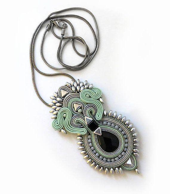 Boho Mint silver necklace jasper onyx stone soutache by sutaszula