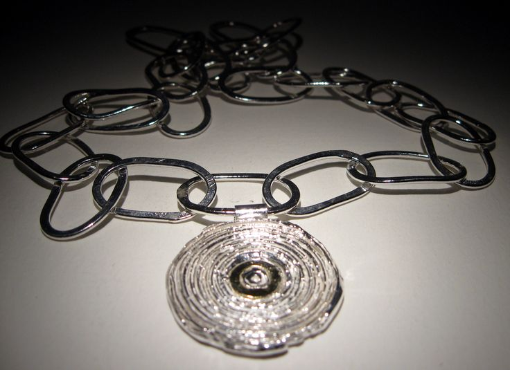 Dorthe Kristensen - Silver and Gold Pendant - hand made sterling silver chain, 22 ct gold