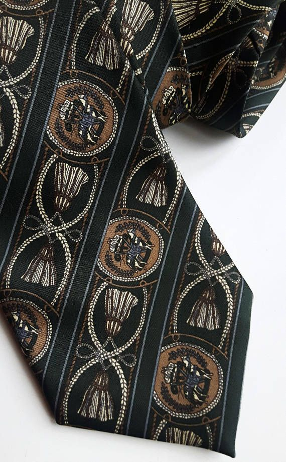 Vintage dark green silk tie Mercedes