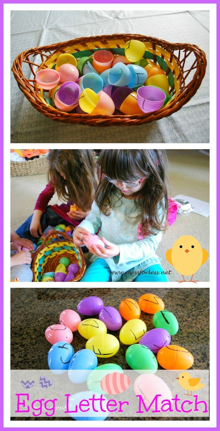Easter Egg Idea - Letter Matching Game: Finally a use for all those plastic eggs that seem to multiply every year! #easter {Mess For Less}