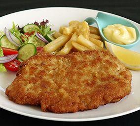 Pork Schnitzel and chips