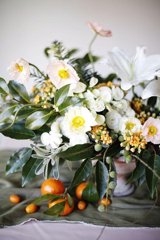 Winter floral arrangements with citrus!