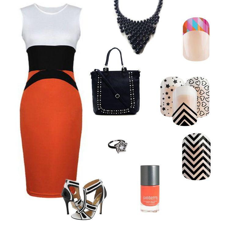 Orange white and black dress