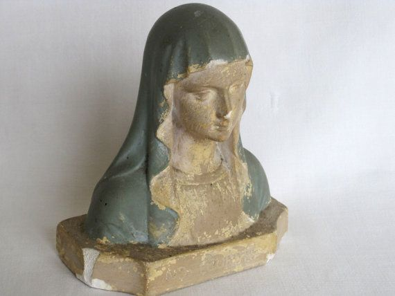 Vintage French Fabulous Time Worn Plaster Bust Of The