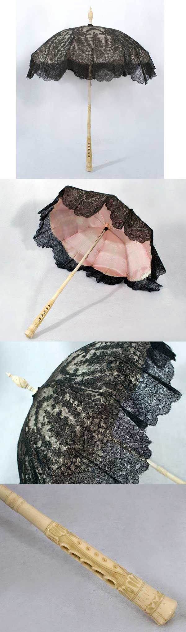 """Black Chantilly lace parasol with carved ivory handle, 1860s. 25"""" high and ~20"""" wide when opened."""