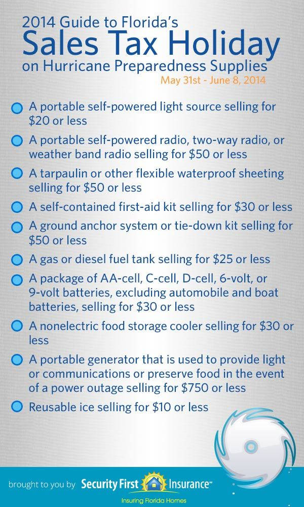 Florida's hurricane tax holiday (May 31 - June 8) helps Florida homeowners prepare for Hurricane Season 2014. While this list of tax-free items is helpful, visit http://www.securityfirstflorida.com/hurricane-preparation/ for a full list of what you can do to prepare for storm season.