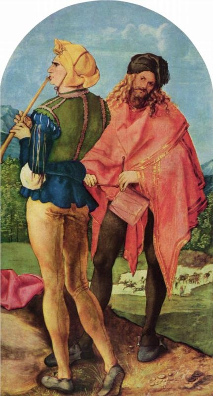 Albrecht Durer (1471-1528)  Drummers and pipers, c.1504