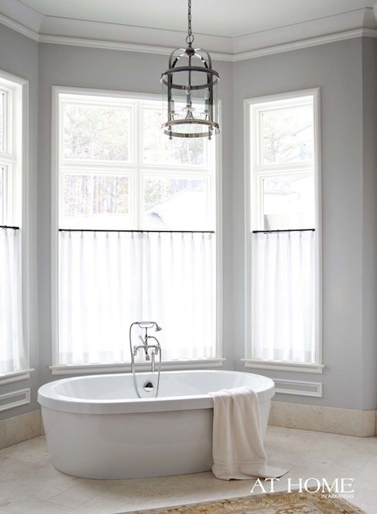 Sheer Cafe Curtains  Bathroom