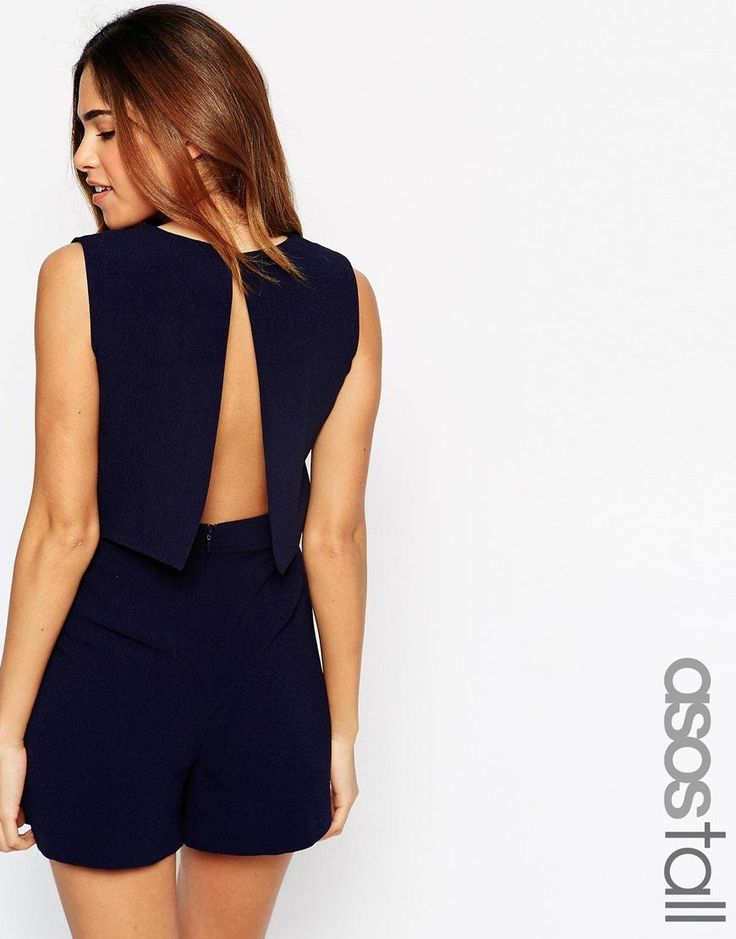 ASOS Tall | ASOS TALL Playsuit With Open Back and Pleat Detail at ASOS