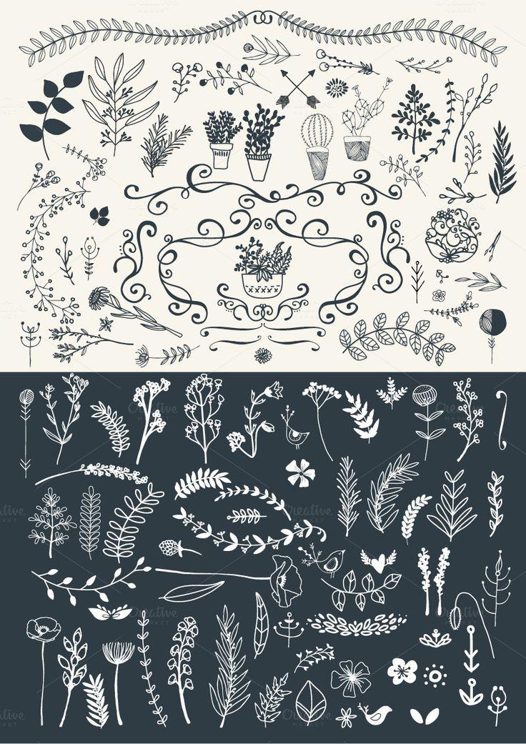 Fresh Florals hand drawn megapack by Lisa Glanz on Creative Market