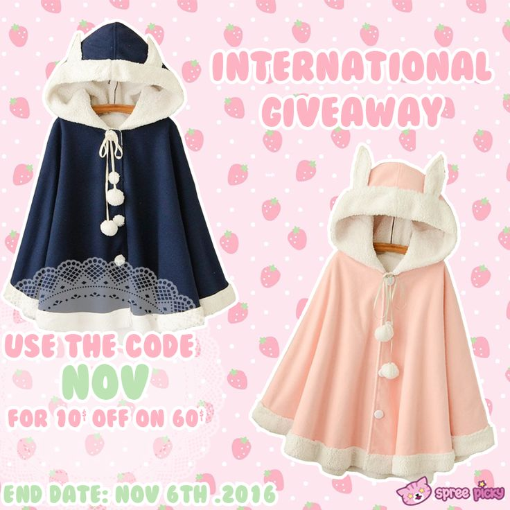 "Attention to the new giveaway 🎁. Prize will be one Rabbit Cape, winner can choose the color >3<. Total 2 winners🎖 Code ""NOV"" to have 10$ OFF ON 60$ during the giveaway time   1. Follow @spreepicky 2. Like and Repin this pic  3. Finish above and enter here: https://goo.gl/6nLkS5 4.Ends on Nov 6, 2016"