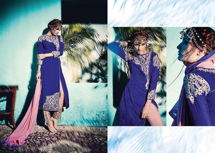 Pakistani Wedding Party Indian Bollywood Designer Anarkali Blue Salwar Kameez…