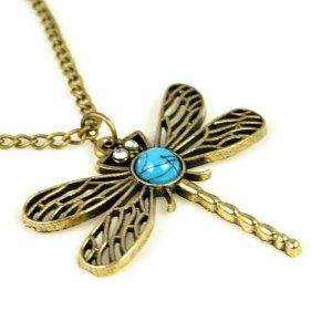 Antique Brass Colored Dragonfly with Turquoise Stone Pendant Necklace.nl-1796 Jewellerygets Necklace. $8.58. dragonfly pendant necklace. turquoise stone pendant necklace. antique brass colored necklace. hot sell in USA