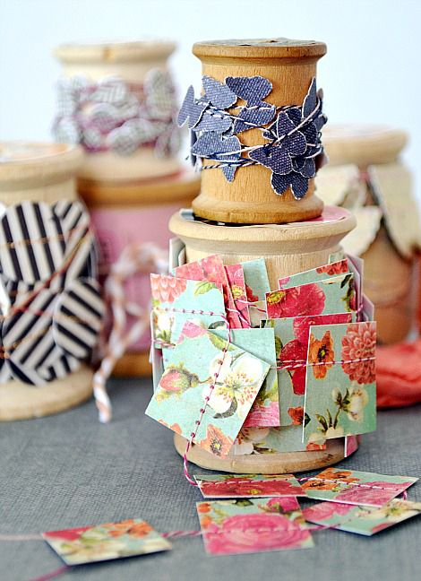 Punch scraps into different shapes, stitch together to make garlands for wrapping presents!: Paper Craft, Gift Wrapping, Paper Scrap, Paper Punch, Wrapping Ideas, Sewing Machine