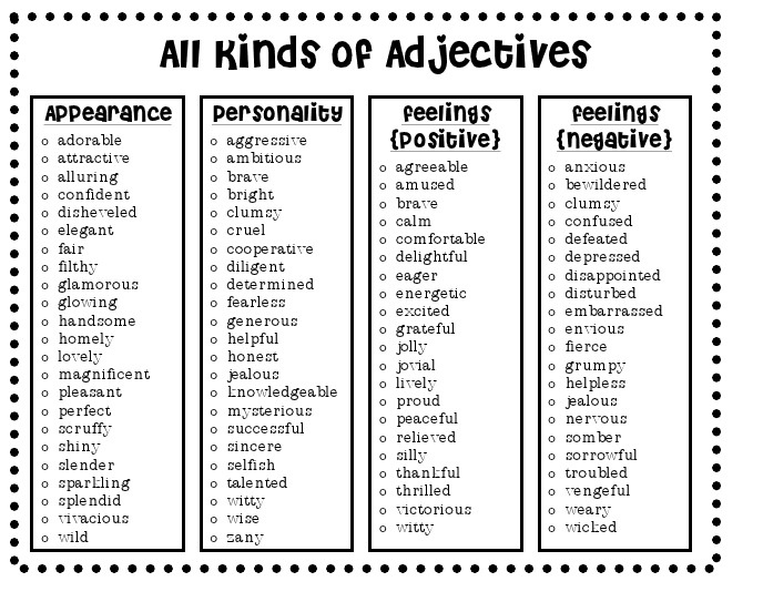 Adjectivesthis may be kiddish, but it's a good list To