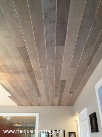 The Quaint Cottage Diy Faux Rustic Plank Ceiling For