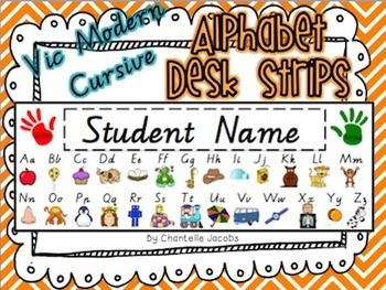 These alphabet desk strips are editable and can be personalised to include your students name on them with your choice of font. They feature every letter of the alphabet with a cute graphic to correspond to each letter.Just print and laminate or contact onto your students desks to assist them with their writing.***Please note: The alphabet font is Victorian Modern Cursive for Victorian teachers in the Australian classroom - If you wish to use a different font, I have an editable version of…