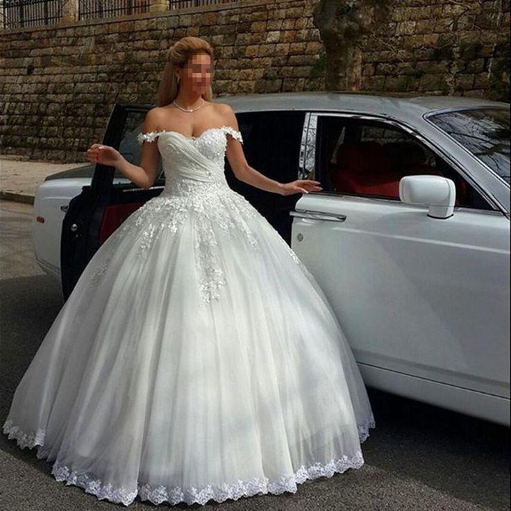 2016 Kathedrale Weiße Elfenbein Spitzen Brautkleider Hochzeitskleid Lange Zug   eBay