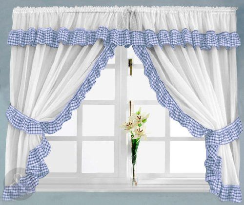 Karo Gardinen Gingham Check Kitchen Curtains - Ready Made Slot Top White