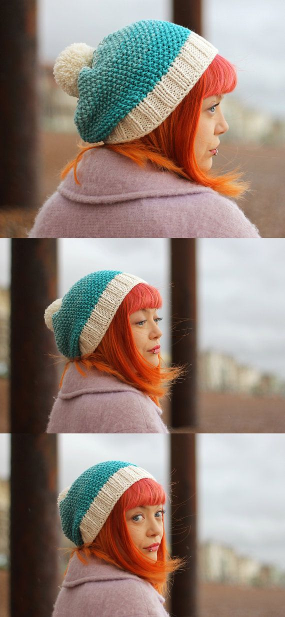 By JureamBox - Hand Knitted  Bamboo & Wool Mix  ombré  Ice Blue Hat