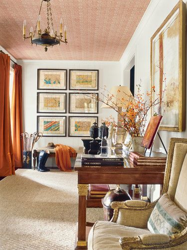 Persimmon, taupe and blue room