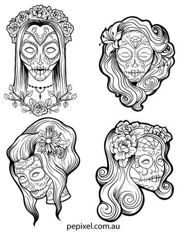 f00d86ce16575 Female Sugar Skulls, Day of the Dead, Halloween coloring in pages, sheets