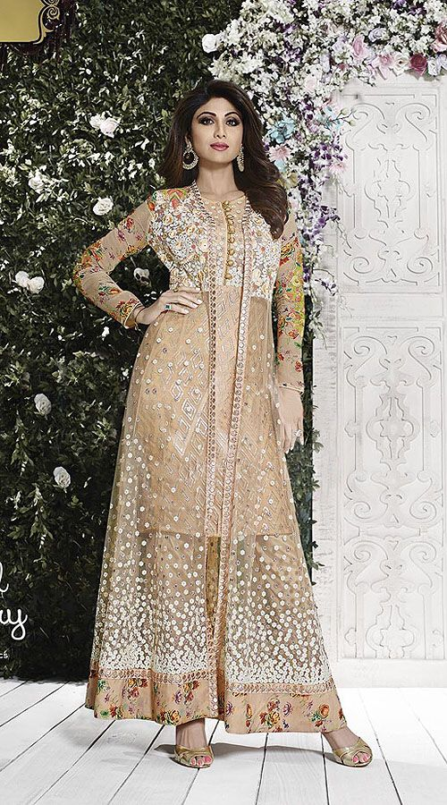 Bollywood Star Shilpa Shetty Dark Cream Achkan Style Kameez 2FD6233685 Get attractive looks like Shilpa Shetty wearing this exclusive dark cream net parallel pant suit which is impressively made with lace, resham, sequins and floral work. This suit comes with matching bottom and dupatta. The blouse of this saree can be stitched in the maximum bust size of 40 inches.