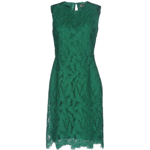 Emilio Pucci Knee-length Dress ($895) ❤ liked on Polyvore featuring dresses, green, sleeveless dress, tent dress, green lace dress, swing dresses and green dress