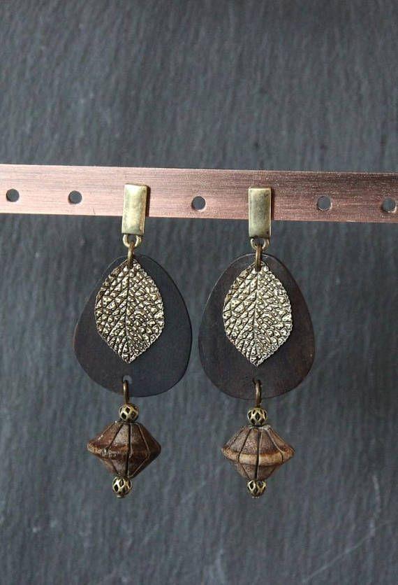 Boucles d'oreilles nature chic, Boucles ethnique chic, boucles bohème, boho earrings, tassel earrings, wood earrings, nature earrings