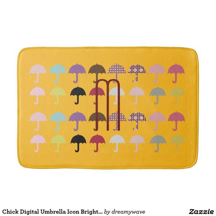 Chick Digital Umbrella Icon Bright Yellow Bath Mats