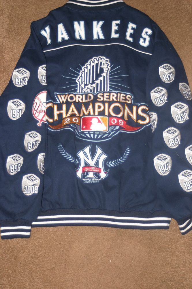 Men s 4XL - New York Yankees 2009 World Series Champions 27 Rings MLB  Jacket  3f6998a60