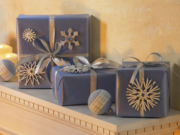spray painted straw wheat snowflakes on packages