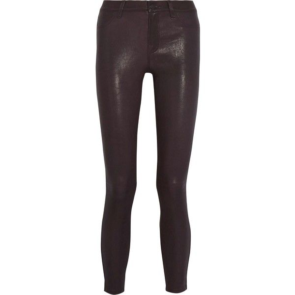 J BRAND   Leather skinny pants (2.745 HRK) ❤ liked on Polyvore featuring pants, faux-leather pants, faux leather trousers, j brand trousers, purple skinny pants and skinny pants