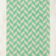 Mint herringbone cotton rug