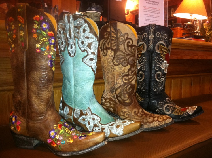 Old Gringo Cowgirl Boots at RiverTrail in North Carolina. Sora Brass L841-3, Marrione Aqua L836-1, Linda L1025-4, Grace Black L639-1.