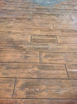 Stamped concrete patterns and colors boardwalk wood for Hardwood floor concrete stamp