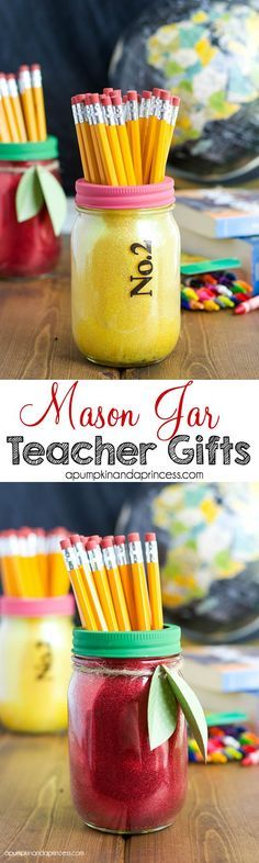 Mason jar teacher gifts. Fun for back to school parties, too. Back to school crafts.