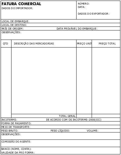 Modelo Fatura Proforma ou Pro Forma Invoice - Como Exportar - proforma invoice