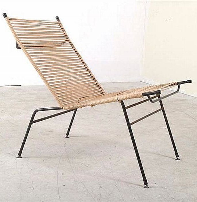 clement meadmore enameled metal and cord string chair 1950s - Mid Century Modern Furniture Of The 1950s