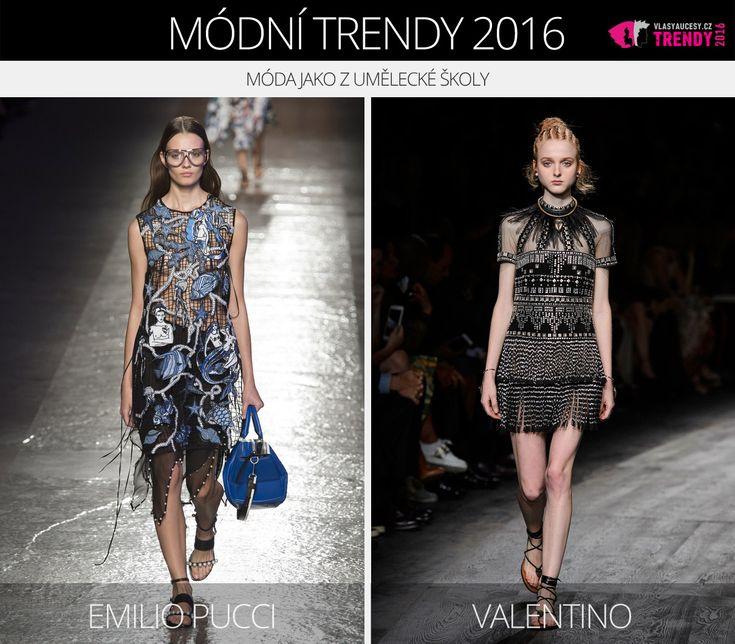 Módní trendy 2016 – móda jako z umělecké školy. (Zleva: Emilio Pucci a Valentino.)