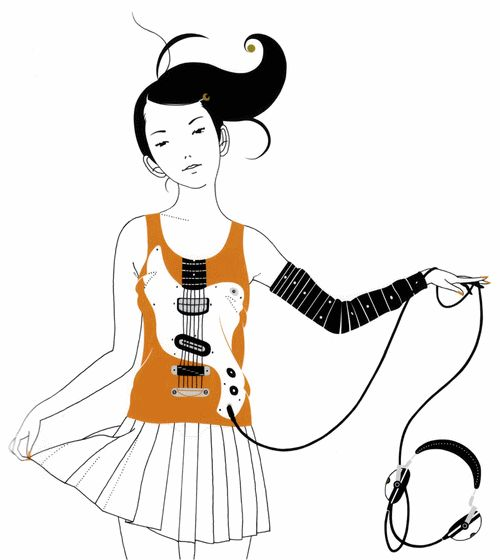 Asian Kung-Fu Generation album cover #Illustration #Guitar #Girl