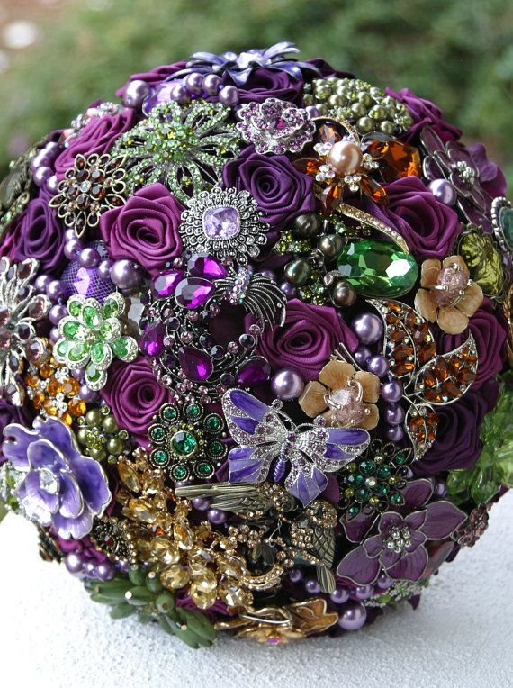 Purple, Green & Gold Amber Brooch Bouquet.