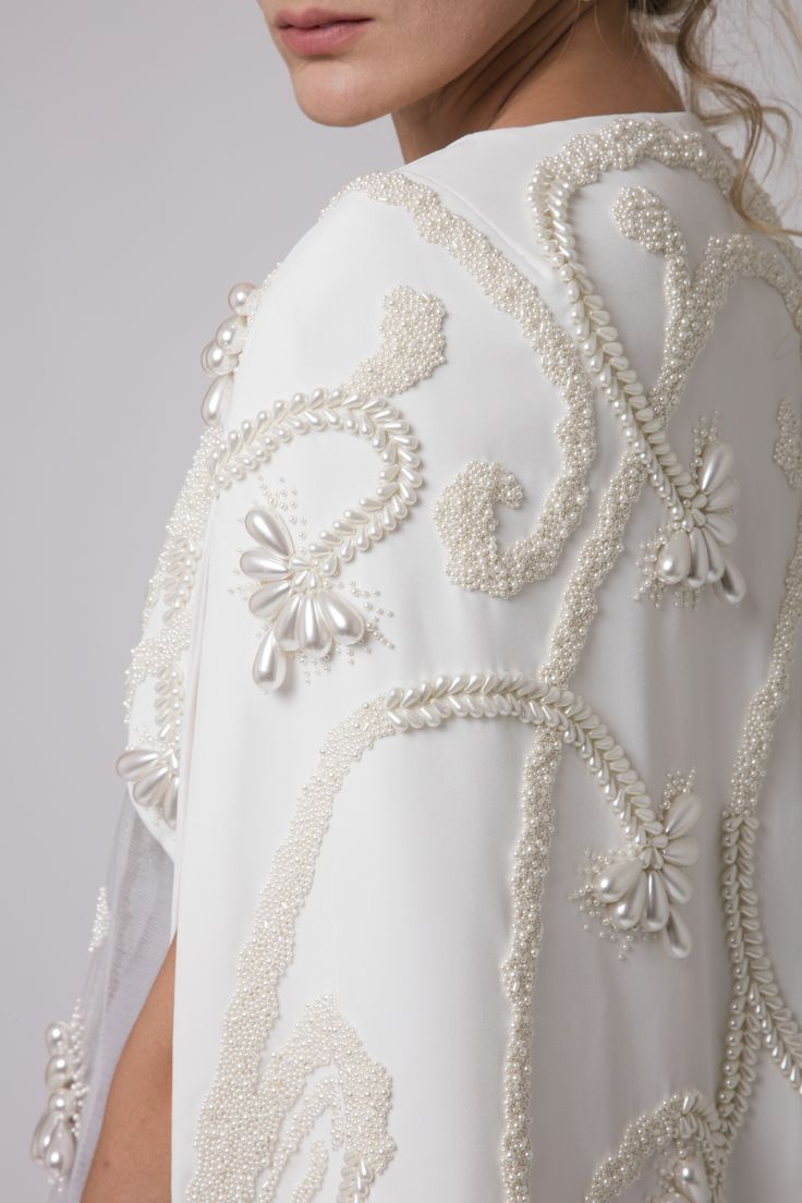 """Azzi & Osta Couture Fall/Winter 16/17 """"Promises Of Dawn"""" White, Cape, Dress, Crepe, Tulle, Hand Embroidery, Pearls"""