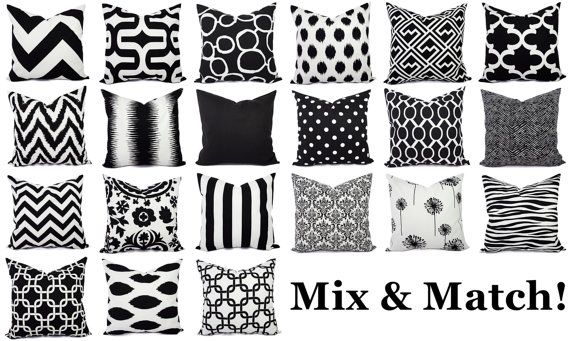 Black and White Pillow Covers  Black Pillows  by CastawayCoveDecor